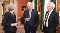 On 5 February, Theresa May, Prime Minister of UK received at 10 Downing Street Michel Barnier, the Chief EU negotiator for Brexit (in the middle) and his British counterpart, government minister David Davis. (Photo UK government work).
